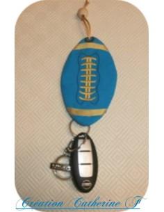 Motif de broderie machine ballon de rugby  porte clé à ruban  ITH