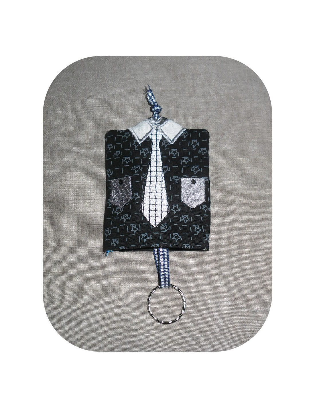 Embroidery man s shirt key holder ith