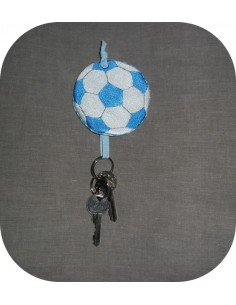 machine embroidery design  rugby ball key holder  ITH