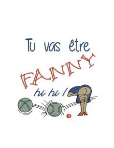 Motif de broderie machine partie de pétanque Fanny
