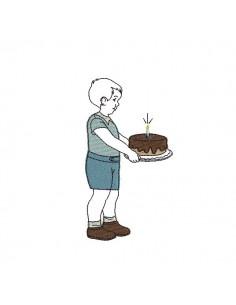 Motif de broderie machine vintage garçon anniversaire