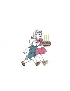 Instant download machine embroidery design vintage Boy with birthday cake