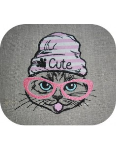 Motif de broderie machine chat cute appliqué