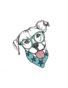Instant download machine embroidery  pitbull applique