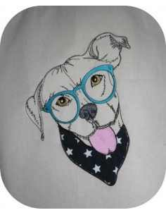 Motif de broderie machine Pitbull appliqué