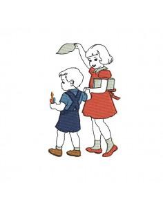 Motif de broderie machine vintage enfants quittant l'école