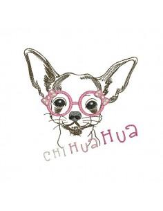 Motif de broderie machine Chihuahua à lunettes
