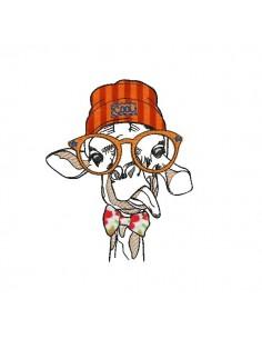 Motif de broderie machine Girafe avec son bonnet