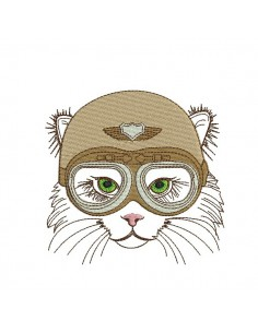 Motif de broderie machine chat biker