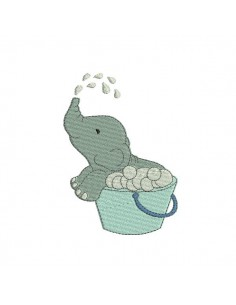 Motif de broderie machine éléphant dans sa bassine