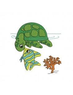Motif de broderie machine tortue de mer