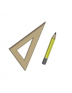 Motif de broderie machine équerre et crayon