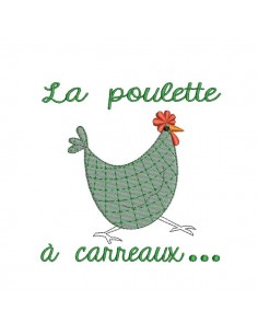 Motif de broderie machine poule à carreaux