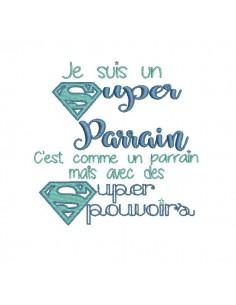 Embroidery design super godmother