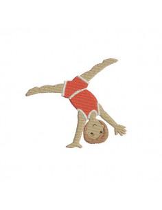 Motif de broderie machine gymnaste faisant la roue