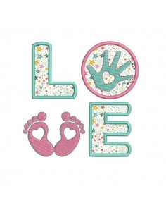 Motif de broderie machine  Love pied main