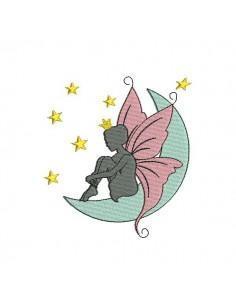 Motif de broderie machine fée papillon sur la lune