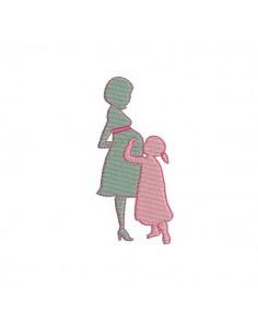 Motif de broderie machine femme enceinte avec fille