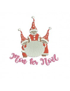 Instant download machine embroidery design christmas family bears