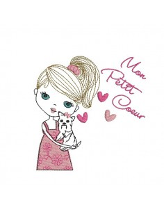 Instant download machine embroidery design girl with her unicorn
