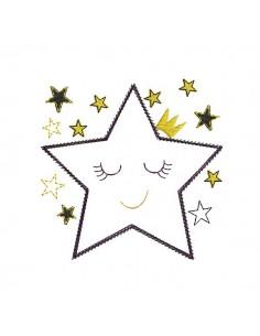 Motif de broderie machine étoile couronne