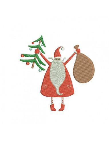 Motif de broderie machine Père Noël avec son sapin
