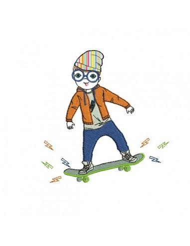 Motif de broderie machine garçon avec son skate