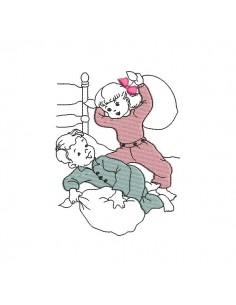 Motif de broderie machine enfants jouant à la bataille d'oreillers