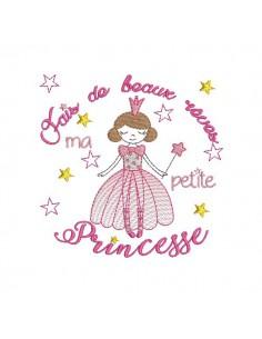 Motif de broderie machine princesse