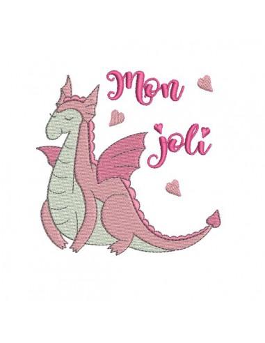 Motif de broderie machine dragon de la princesse