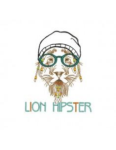 Motif de broderie machine Lion Hipster avec son bonnet en appliqué