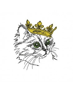 Motif de broderie machine chat avec sa couronne