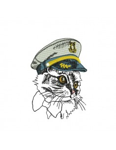 Motif de broderie machine chat capitaine