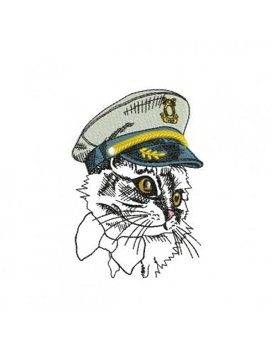 Motif de broderie machine chat capitaine