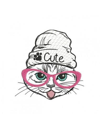 Motif de broderie machine chat cute mylar