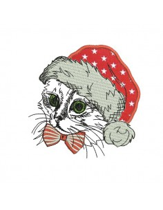 Motif de broderie machine chat noël