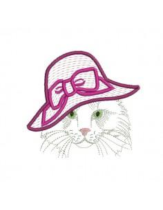 Motif de broderie machine chatte au chapeau appliqué mylar
