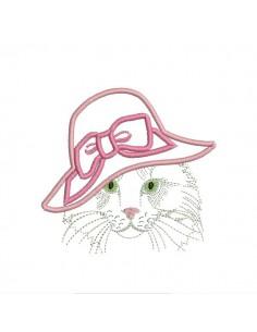 Motif de broderie machine chatte au chapeau appliqué