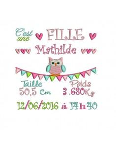 Instant download machine embroidery design Newspaper Birth Announcement