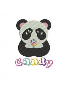 Motif de broderie machine panda avec sa sucette