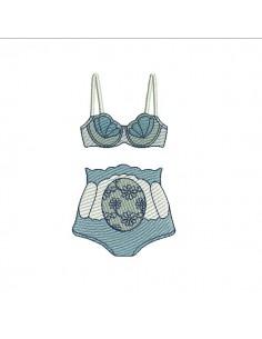 Instant download machine embroidery design Lingerie underwear flower