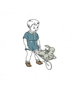 Motif de broderie machine garçon avec lapins
