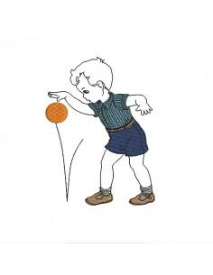 Motif de broderie machine garçon jouant à la balle