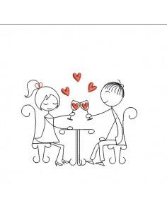 Motif de broderie machine amoureux trinquant à l'amour