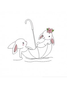 Instant download machine embroidery rabbits in an umbrella