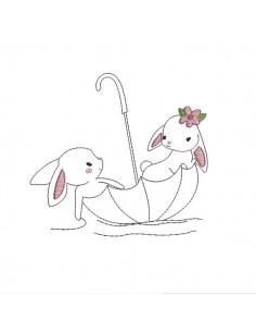 Motif de broderie machine  redwork lapins dans un parapluie