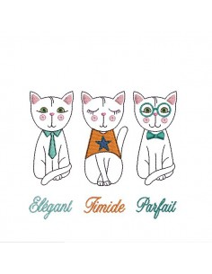 Instant download machine embroidery cat attitude