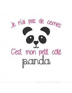 Motif de broderie machine côté panda