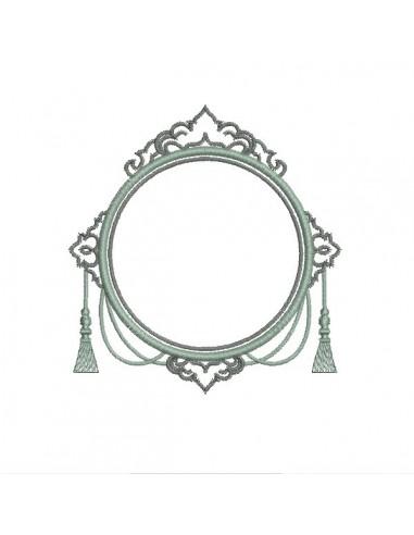 Motif de broderie machine cadre baroque