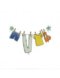 Instant download machine embroidery design clothesline girl